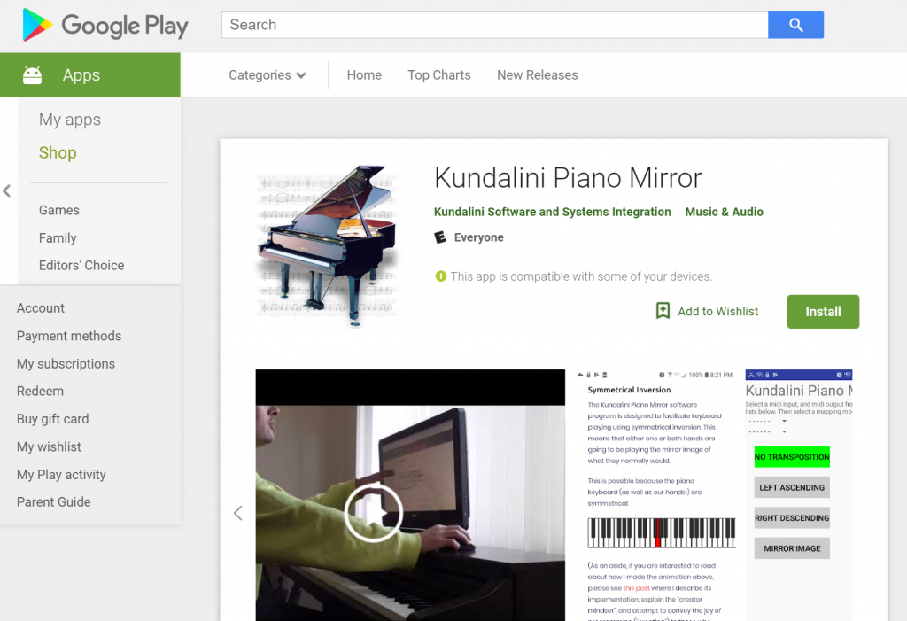 Google Play Edition of the Kundalini Piano Mirror - Kundalini Software